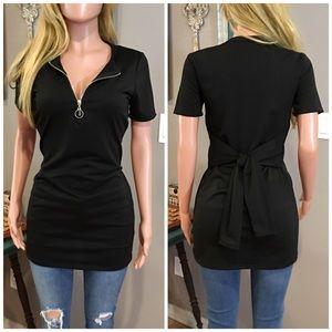 Black zip front tie back top